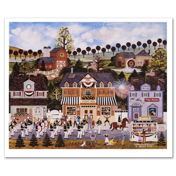 """Jane Wooster Scott, """"Celebration of America"""" Hand Signed Limited Edition Lithograph with Letter of A"""