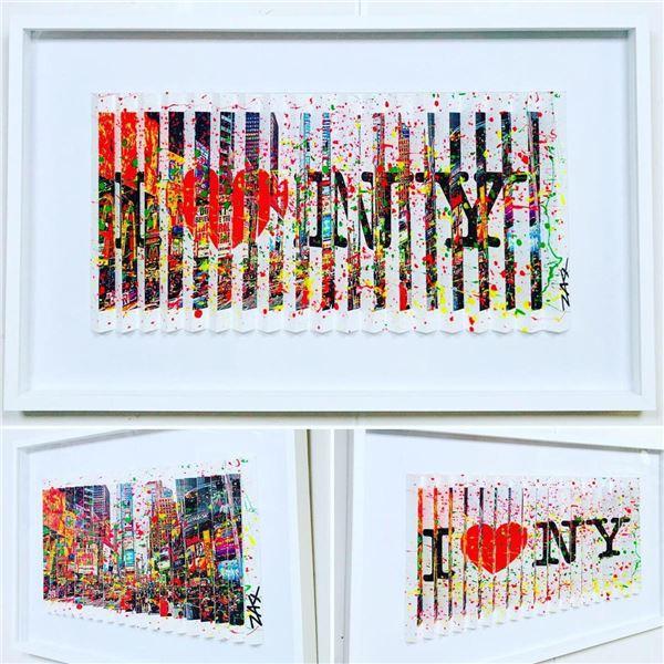 "E.M. Zax- One-of-a-kind 3D polymorph mixed media on paper ""I Love NY"""