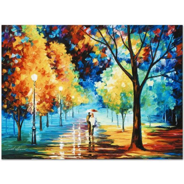 """Leonid Afremov (1955-2019) """"Night Alley"""" Limited Edition Giclee on Canvas, Numbered and Signed. This"""