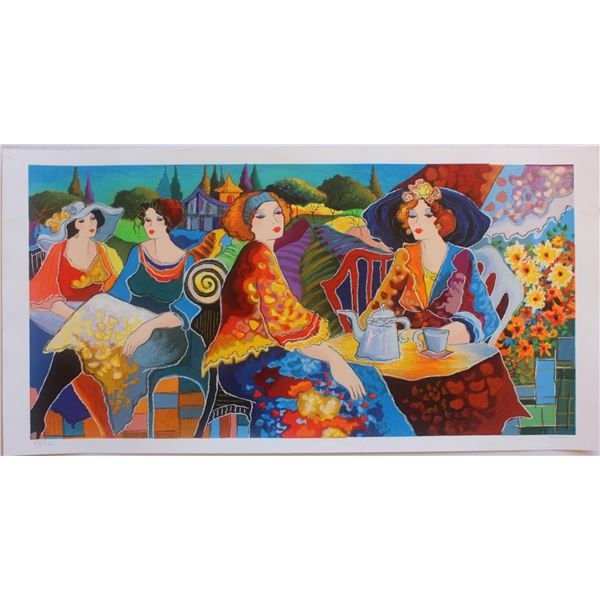 """Patricia Govezensky- Original Serigraph on Paper """"Relaxed Afternoon in the Garden"""""""