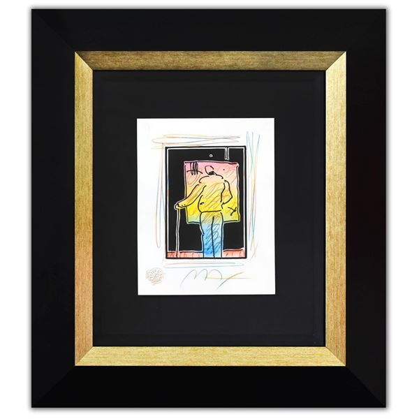 """Peter Max- Original Mixed Media with Watercolor and Color Pencil """"Man At Easel (B&W Series)"""""""