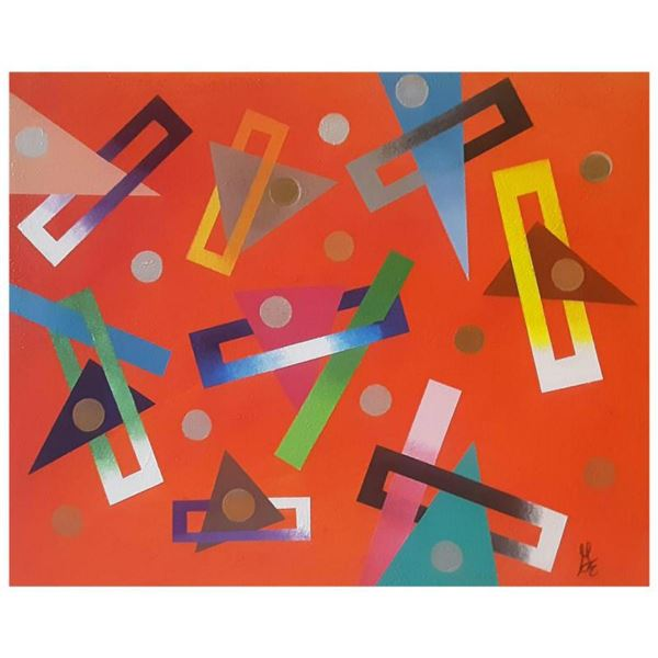 """George Marlowe, """"Geometrics"""" Hand Signed Original Acrylic Painting on Canvas with Letter of Authenti"""