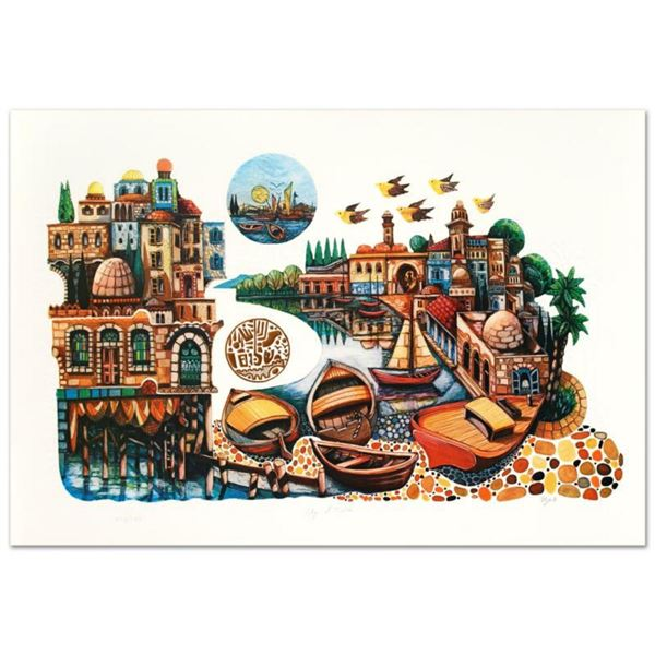 """Amram Ebgi, """"City of Jaffa"""" Limited Edition Lithograph, Numbered and Hand Signed with Letter of Auth"""