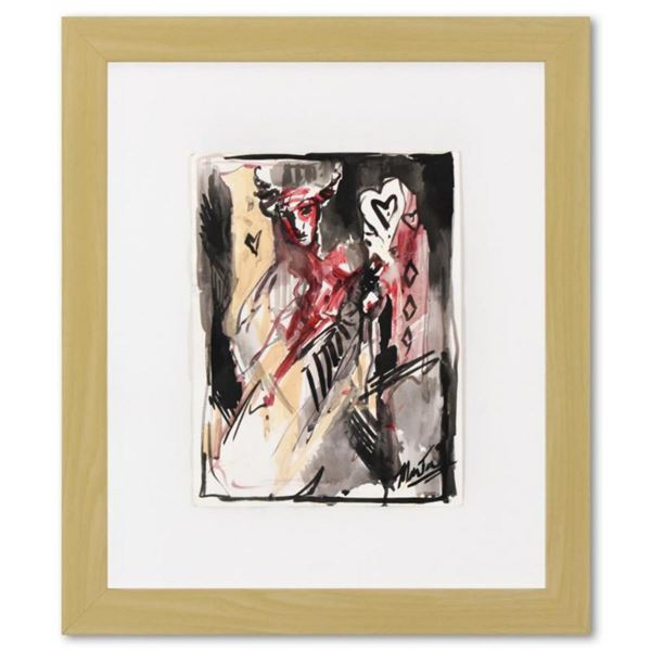 Marta Wiley, Framed Original Mixed Media Painting, Hand Signed and Thumb Printed with Letter of Auth