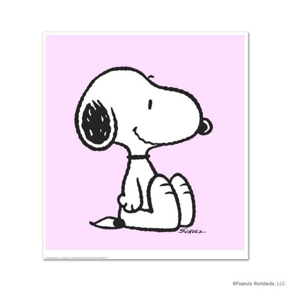 """Peanuts, """"Snoopy: Pink"""" Hand Numbered Limited Edition Fine Art Print with Certificate of Authenticit"""