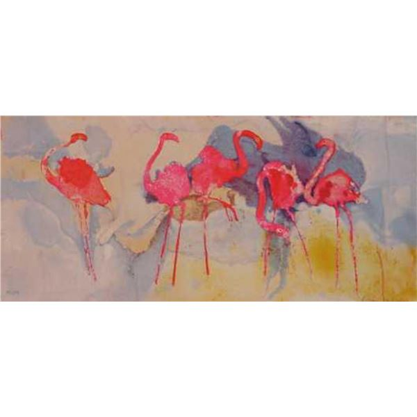 "Edwin Salomon- Original Serigraph ""Flamingo Fantasia"""