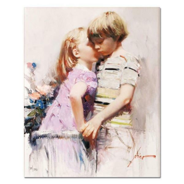 """Pino (1939-2010), """"The Kiss"""" Artist Embellished Limited Edition on Canvas, Numbered and Hand Signed"""