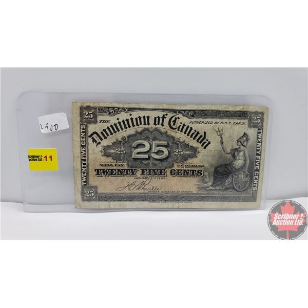 """Dominion of Canada Twenty Five Cent """"Shinplaster"""" 1900 (See Pics for Signatures/Serial Numbers)"""