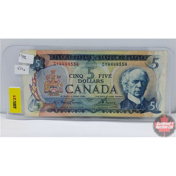 Canada $5 Bill 1972 (2 Digit Serial Number) (Lawson/Bouey S/N#CY4444554) (See Pics for Signatures/Se