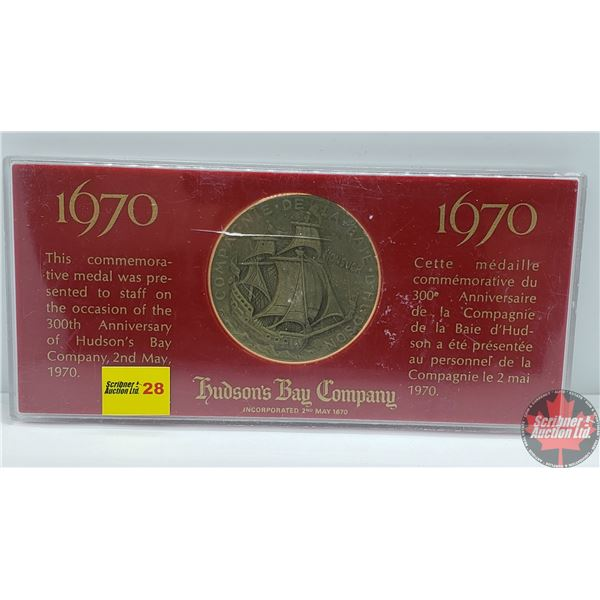 Hudson's Bay Company 300th Anniversary Staff Presented Medal 1670-1970
