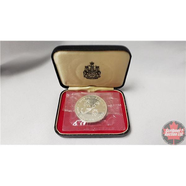 Bermuda One Dollar ER Silver Wedding 1972 w/Black Hardshell Case (Note: Coin in Orig Cellophane Pkg)