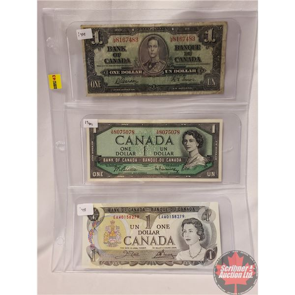 Canada $1 Bills (3) : 1937 ; 1954 ; 1973 (See Pics for Signatures/Serial Numbers)