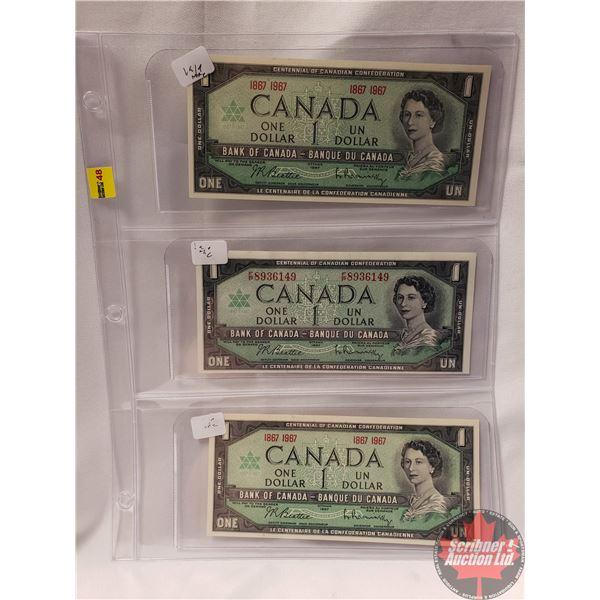 Canada $1 Bills 1967 Beattie/Rasminsky (3) (See Pics for Signatures/Serial Numbers)