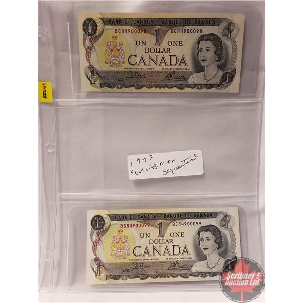 Canada $1 Bills 1973 (2 Sequential) : Crow/Bouey BCR4900098/4900099 (See Pics for Signatures/Serial
