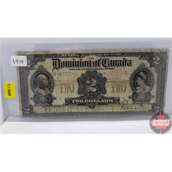 """Dominion of Canada $2 Bill """"Horse Blanket"""" 1914 (Saunders M-872586) (See Pics for Signatures/Serial"""