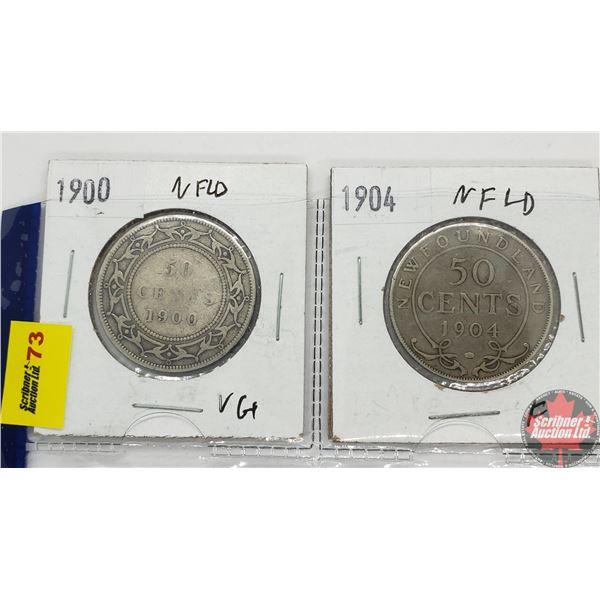 Newfoundland Fifty Cent - Strip of 2: 1900; 1904