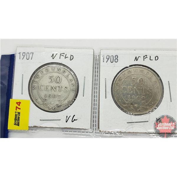 Newfoundland Fifty Cent - Strip of 2: 1907; 1908