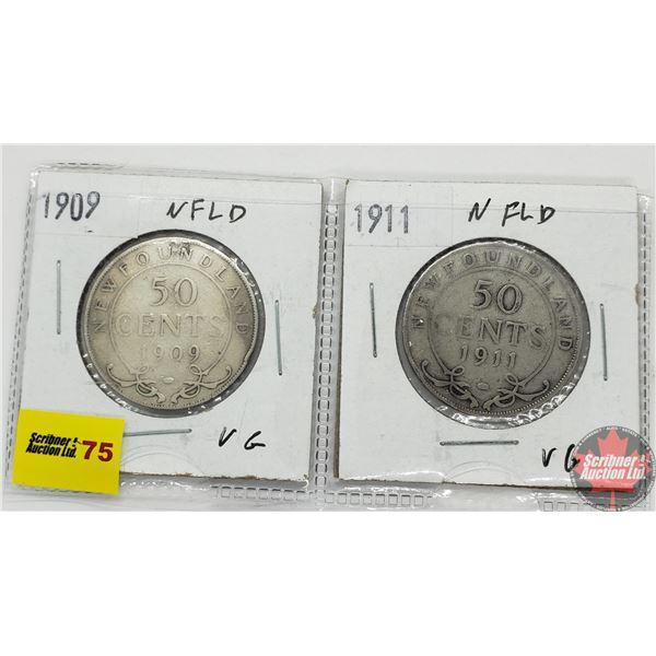 Newfoundland Fifty Cent - Strip of 2: 1909; 1911