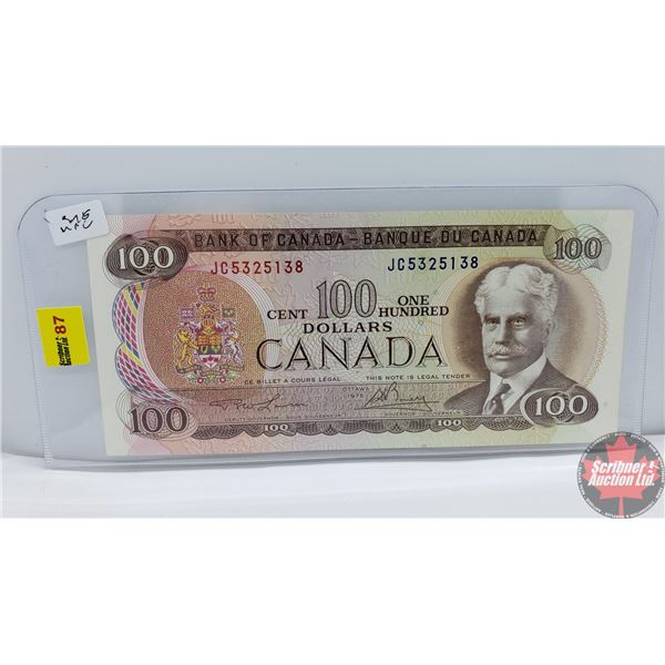Canada $100 Bill 1975 : Lawson/Bouey JC5325138 (See Pics for Signatures/Serial Numbers)