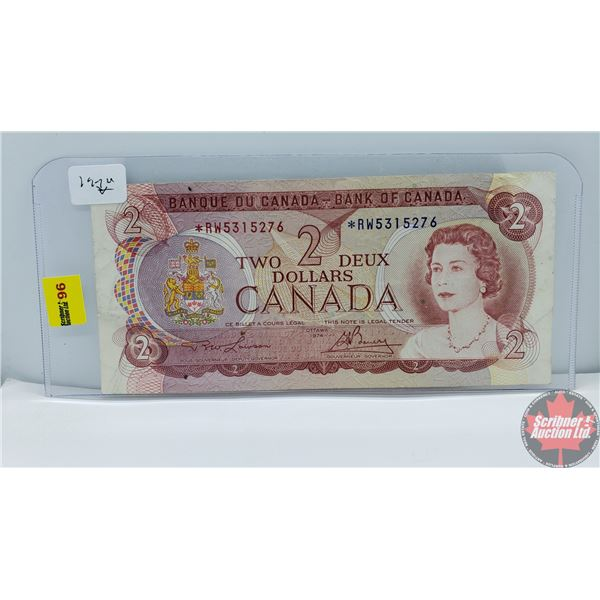 Canada $2 Bill 1974 *Replacement : Lawson/Bouey *RW5315276 (See Pics for Signatures/Serial Numbers)
