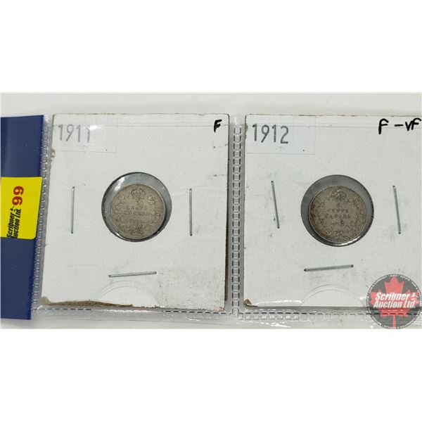 Canada Five Cent - Strip of 2: 1911; 1912