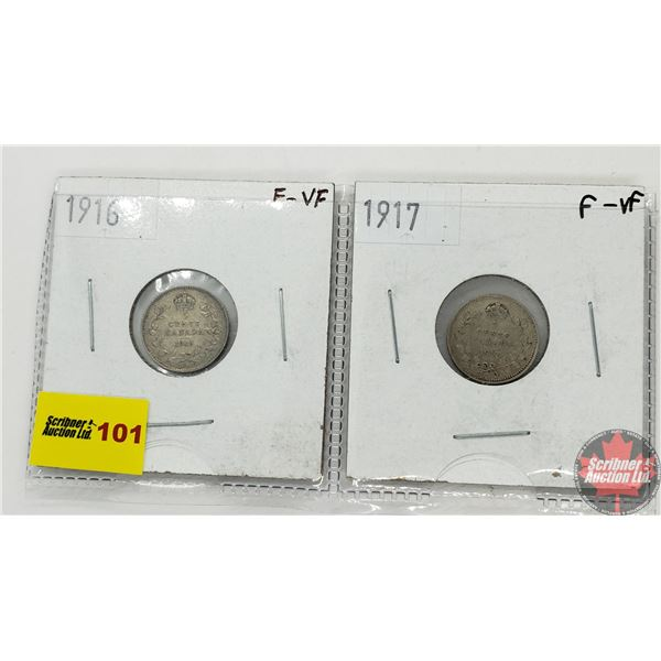 Canada Five Cent - Strip of 2: 1916; 1917