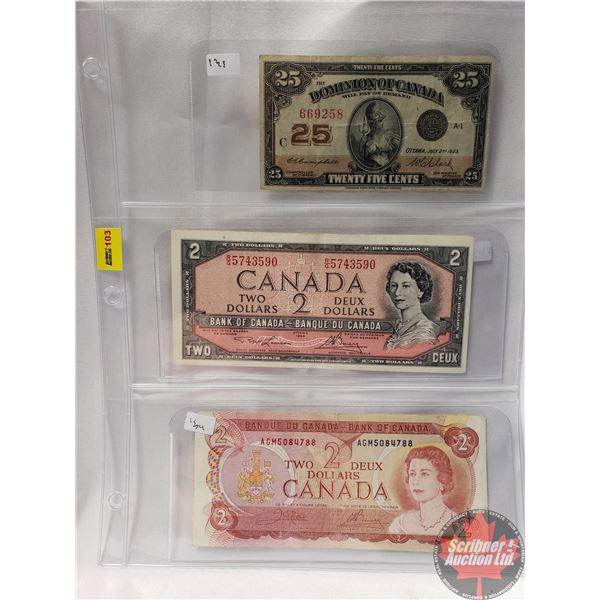 """Canada Bills (3) : 1923 Twenty Five Cent """"Shinplaster"""" ; 1954 $2 Bill ; 1974 $2 Bill (See Pics for S"""