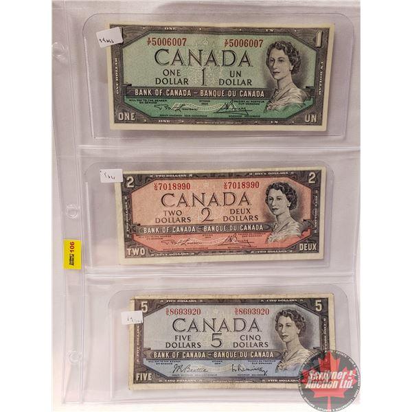 Canada Bills 1954 (3) : $1 Bill ; $2 Bill  ; $5 Bill (See Pics for Signatures/Serial Numbers)