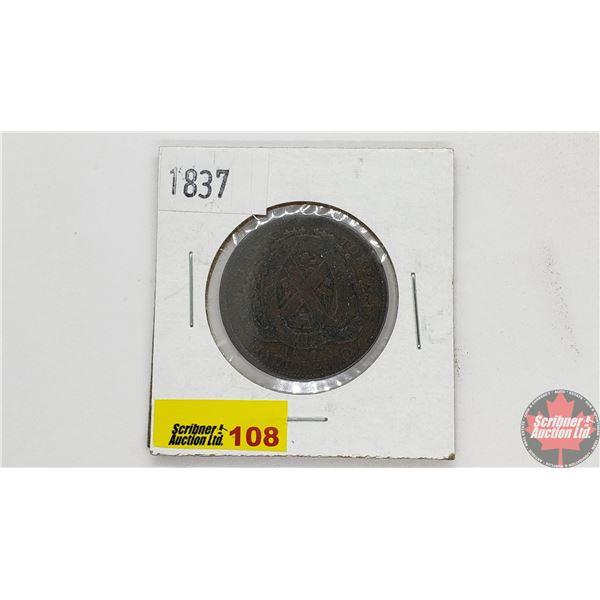 Bank Token Half Penny 1837 Province du Bas Canada Un Sou