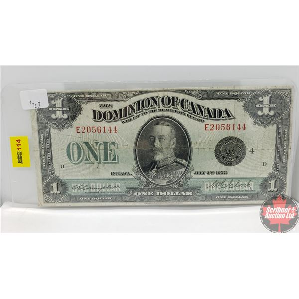 """Dominion of Canada $1 Bill """"Horse Blanket"""" 1923 (Campbell/Clark E2056144) (See Pics for Signatures/S"""
