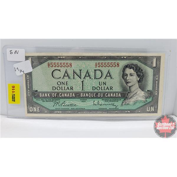 Canada $1 Bill 1954 (2 Digit Serial Number) (Beattie/Rasminsky GZ5555558) (See Pics for Signatures/S