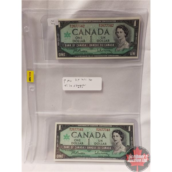 Canada $1 Bills 1967 (2 Sequential) (Beattie/Rasminsky MO2677542-543)