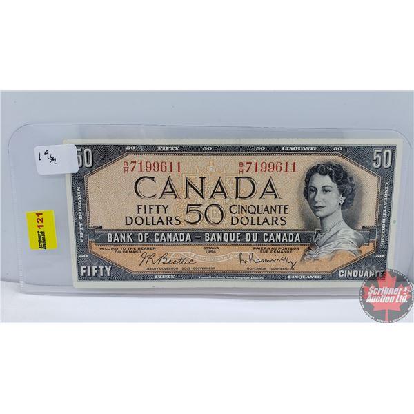 Canada $50 Bill 1954 (Beattie/Rasminsky BH7199611) (See Pics for Signatures/Serial Numbers)