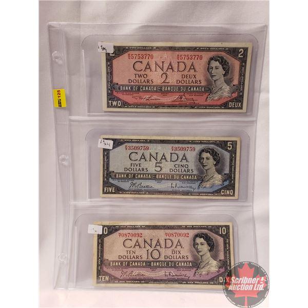 Canada Bills 1954 (3) : $2 Bill ; $5 Bill ; $10 Bill (See Pics for Signatures/Serial Numbers)