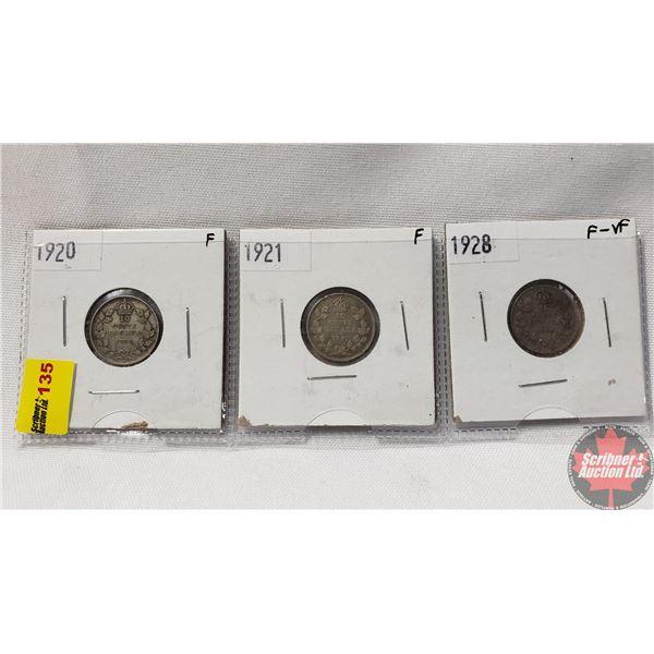Canada Ten Cent - Strip of 3: 1920; 1921; 1928