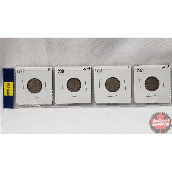 Canada Ten Cent - Strip of 4: 1929; 1930; 1931; 1932