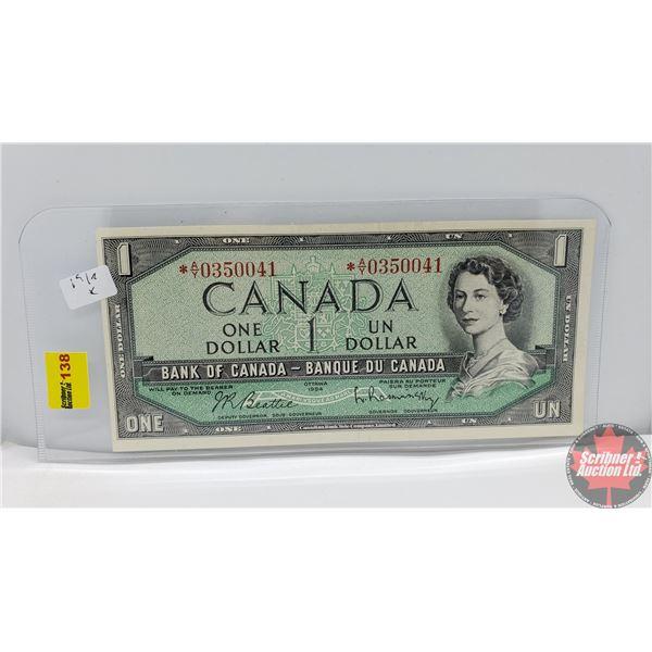 Canada $1 Bill 1954 *Replacement (Beattie/Rasminsky *AY0350041) (See Pics for Signatures/Serial Numb