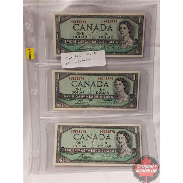 Canada $1 Bills 1954 (3 Sequential) (Bouey/Rasminsky LF8241573-574-575) (See Pics for Signatures/Ser