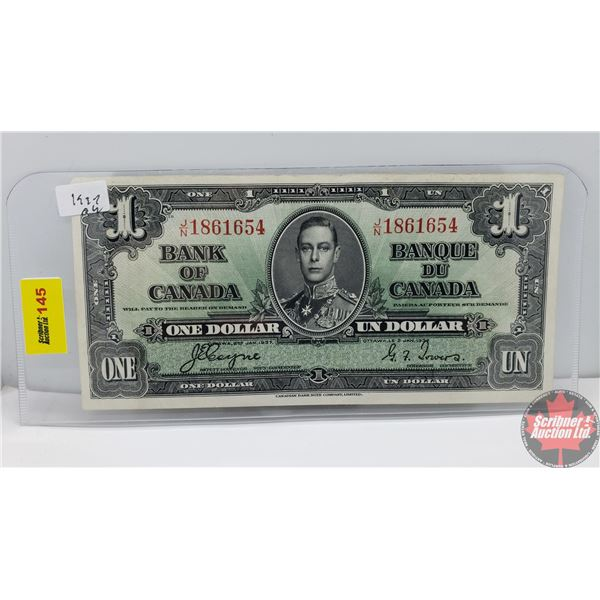 Canada $1 Bill 1937 (Coyne/Towers JN18616540 (See Pics for Signatures/Serial Numbers)