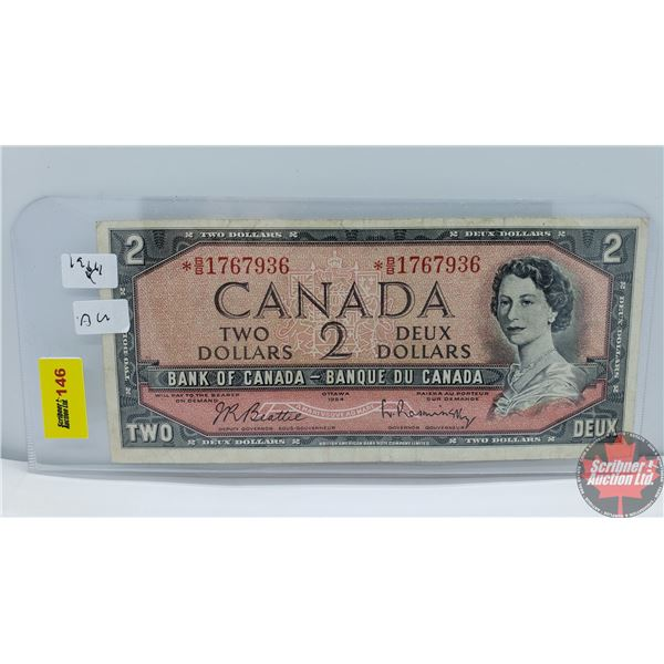 Canada $2 Bill 1954 *Replacement (Beattie/Rasminsky *BB1767936) (See Pics for Signatures/Serial Numb