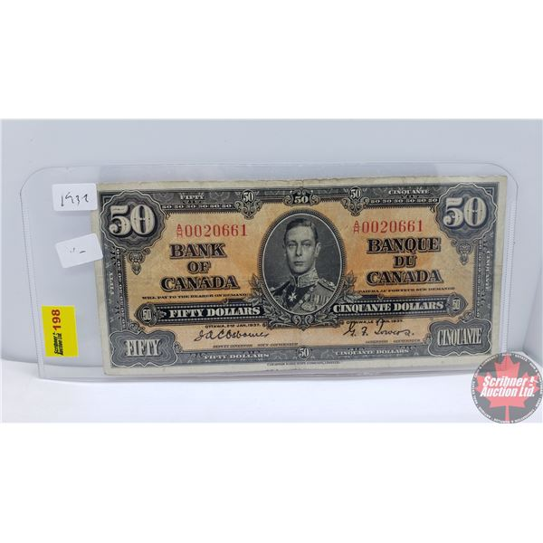 Canada $50 Bill 1937 (Osborne/Towers AH0020661) RARE! (See Pics for Signatures/Serial Numbers)