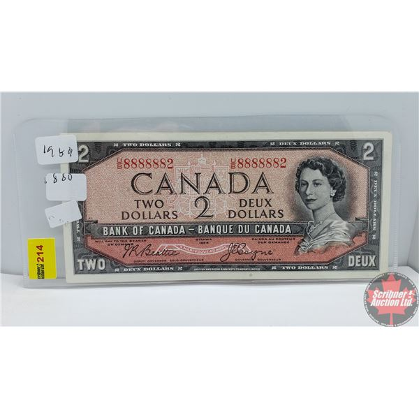 Canada $2 Bill 1954 (Near Solid S/N#) (Beattie/Coyne UB8888882) (See Pics for Signatures/Serial Numb