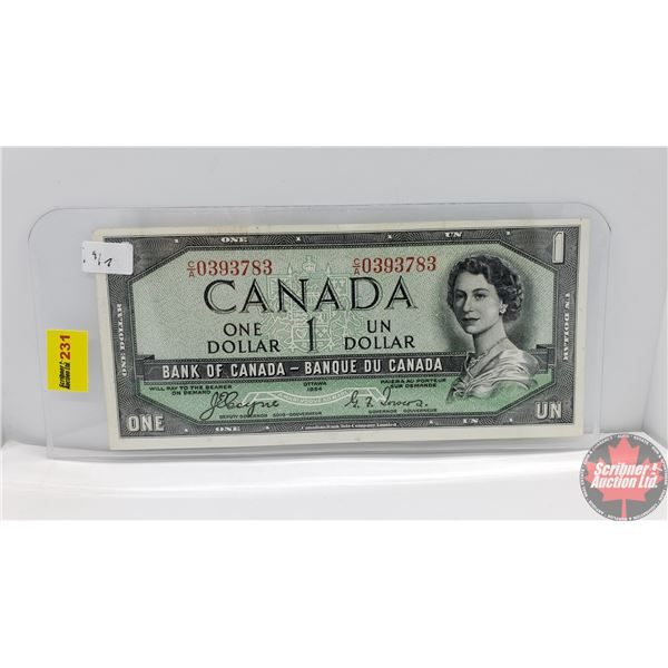 """Canada $1 Bill 1954DF """"Devil's Face"""" (Coyne/Towers CA0393783) (See Pics for Signatures/Serial Number"""