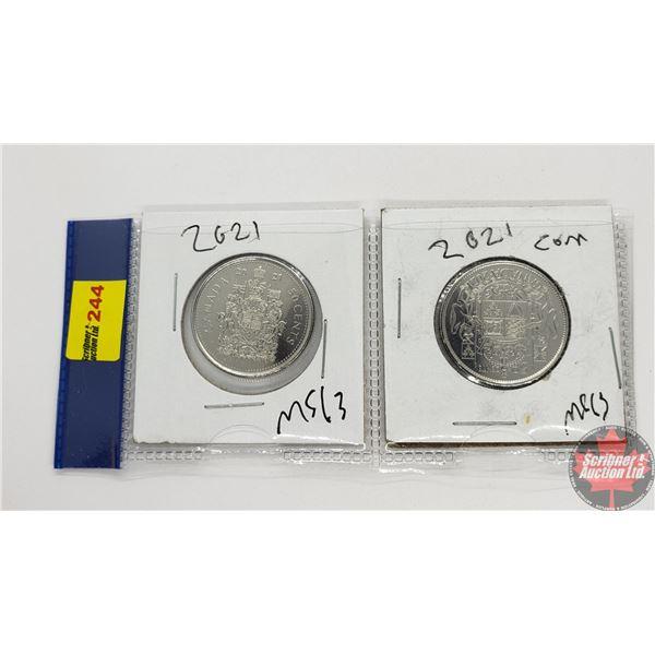 Canada Fifty Cent - Strip of 2: 2021 George ; 2021 Elizabeth