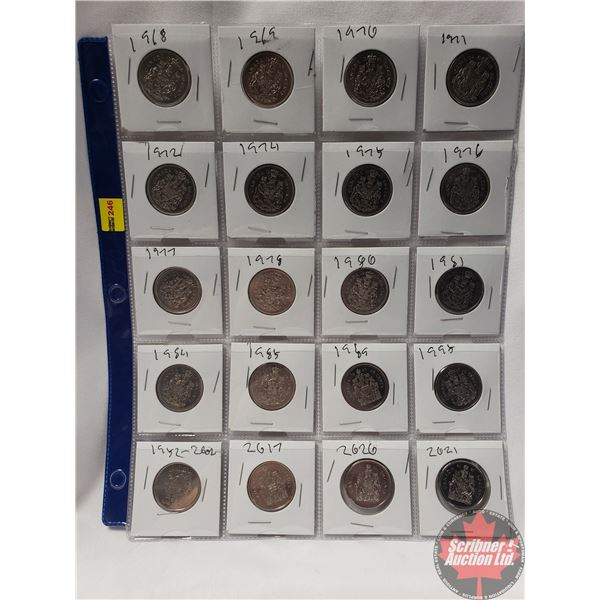 Canada Fifty Cent - Sheet of 20: 1968; 1969; 1970; 1971; 1972; 1974; 1975; 1976; 1977; 1978; 1980; 1