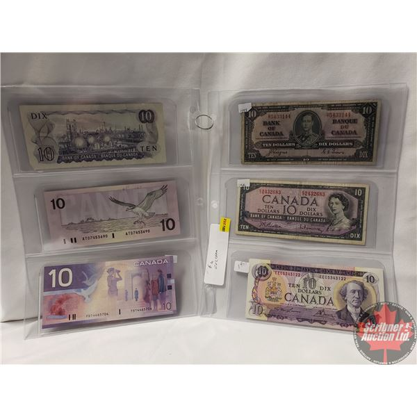 Canada $10 Bills (6) Variety : 1937; 1954; 1971; 1971; 1989; 2001 (See Pics for Signatures/Serial Nu