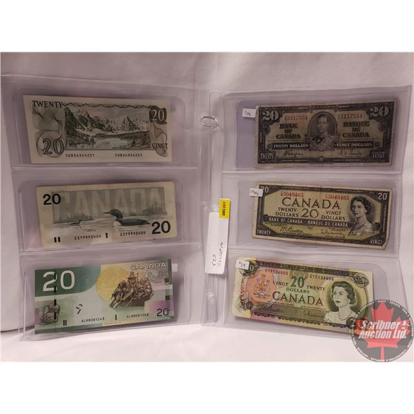 Canada $20 Bills (6) Variety : 1937; 1954; 1969; 1979; 1991; 2004 (See Pics for Signatures/Serial Nu