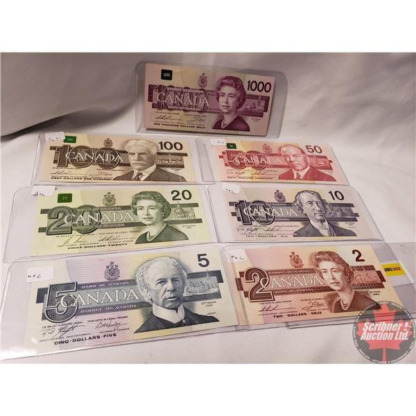 Canada Bills Bird Series (7 Bills) : $2; $5; $10; $20; $50; $100; $1000 (See Pics for Signatures/Ser