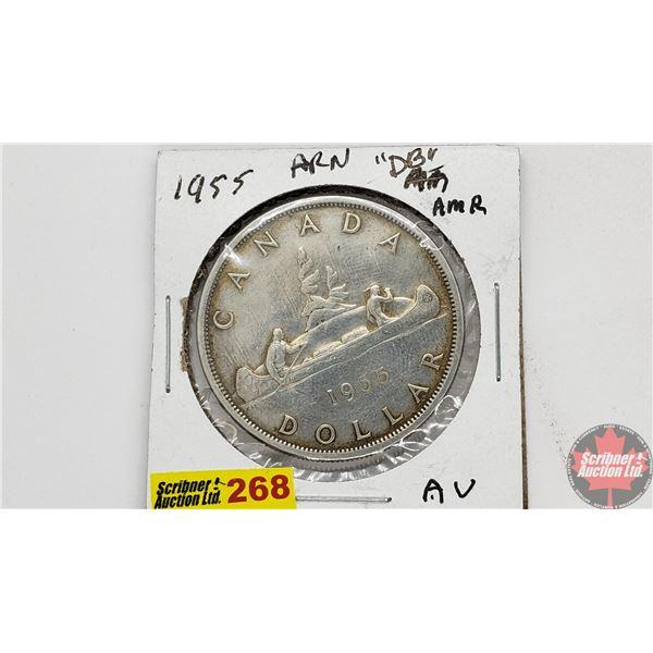 "Canada Silver Dollar 1955 ARN (Also appears to be DB ""Die Break"")"