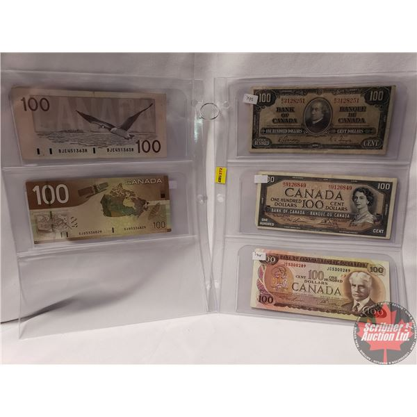Canada $100 Bills (5) Variety : 1937; 1954; 1975; 1988; 2004 (See Pics for Signatures/Serial Numbers